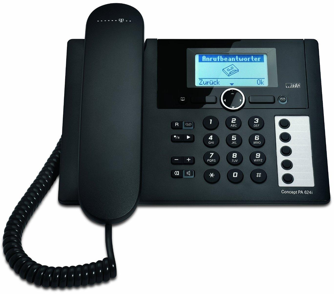 t concept pa624i isdn telefon mit anrufbeantworter tischtelefon schnurgebunden. Black Bedroom Furniture Sets. Home Design Ideas